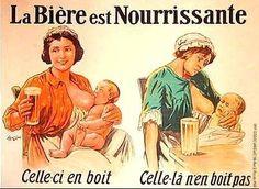 """vintage drink ad poster, """"beer is nourishing"""" publicité """"La bière est nourrissante"""""""