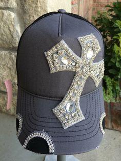 cbfa2d2a501 Items similar to Women s black Trucker Hat. Baseball Hat. Women s Hat.hat. Tan. snap back.gold rhinestone. bling. cap. Distressed. on Etsy