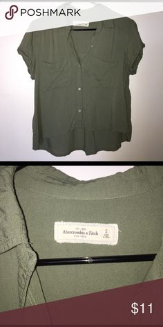 Abercrombie button up crop top Hardly been worn. Really good condition size S. Super cute fits in between crop top and normal shirt. My shoulders are a little too wide for it. Abercrombie & Fitch Tops Crop Tops