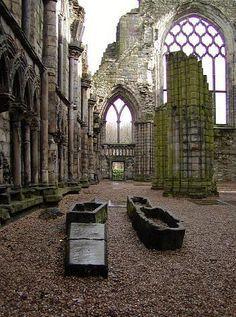 Ruins of Holyrood Abbey. Scotland.. travel, travel photos, travel destinations