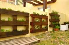 600x398 Vertical pallets used as planters on an outdoor wall in garden diy  with Vertical Planter pallet