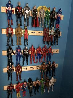 Wall mounted figure display Using tool clips Boys Superhero Bedroom, Superhero Room Decor, Marvel Bedroom, Boys Bedroom Decor, Bedroom Ideas, Avengers Room, Lego Room, Toy Rooms, Man Room