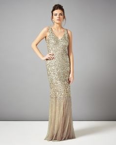 Occasion Dresses | Metallics Luna Sequin Full Length Dress | Phase Eight