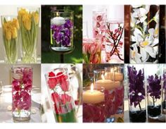 flowers submerged in water - can always lose the candles, if you don't want fire!