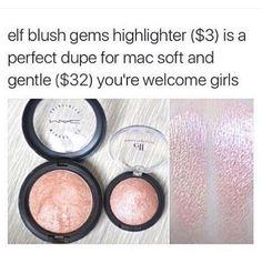 Mac Soft and Gentle Highlighter Dupe > Elf blush gem highlighter