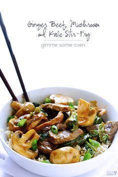 Ginger Beef, Mushroom & Kale Stir-Fry   gimmesomeoven.com