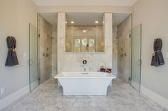 Giant double-sized shower behind the free-standing tub. the vanities are on the other half of the room, opposite each other with a large window and window seat in between. Master Bath Shower, Master Bathroom, Bathroom Renos, Bathroom Interior, Cambridge House, Cheap Dorm Decor, Luxury Homes Interior, Interior Design, Home Decor Styles