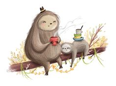 Snoozy Sloths - by Lucy Fleming @IllustrateLucy