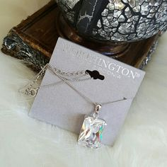 Worthington Cubic Zirconia Necklace Brand new with tags Beautiful square shaped silver tone pendant & chain with cubic zirconia Worthington Jewelry Necklaces