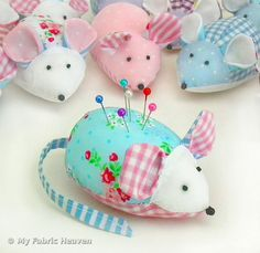 Fabric Mouse Pin Cushion Craft Sewing Pattern & Full Instructions. Make Your Own