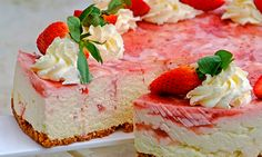 This stunning strawberry cheesecake recipe doesn't require baking and is a great treat for all celebrations.