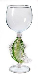 """Largemouth Bass Hand Made Wine Glass from Yurana Designs W264 by Yurana Designs. $35.00. This is not likely to be a gift they already have!. Great gift for Wine Lover and Bass Fishermen. Hand Blown Wine Glass with Large Mouth Bass blown into Stem. Approximately 8"""" Tall, and Holds about 6 Ounces. Hand Wash Only. Hand-blown Large Mouth Bass Wine Glass by Yurana Designs.  Hand Wash Only"""