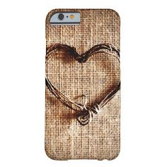 Rustic Country Twine Heart on Burlap iPhone 6 Case SOLD on Zazzle