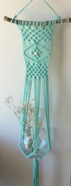Mint macrame wall/plant hanger. Liven up a space in your home