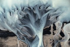 Icelandic glacial rivers pattern. Aerial shot was taken in the south of Iceland from a small plane