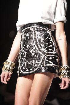 Balmain skirt under creative director Olivier Rousteing