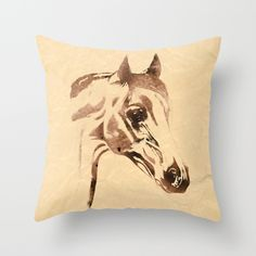 Portrait of a Horse: Rustic Edition Throw Pillow western home decor
