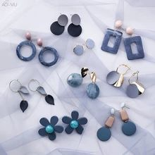 AOMU Korean Summer Blue Geometric Acrylic Irregular Hollow Circle Square Drop Earrings for Women Metal Bump Party Beach Jewelry Fashion Earrings, Women's Earrings, Fashion Jewelry, 3d Rose, Polymer Clay Flowers, Beach Jewelry, Aliexpress, Look Fashion, Fashion Styles