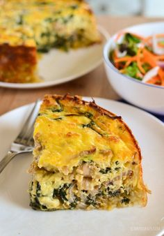 Slimming Eats Chicken and Spinach Quiche - gluten free, Slimming World and Weight Watchers friendly Quiche Recipes, Egg Recipes, Diet Recipes, Cooking Recipes, Healthy Recipes, Savoury Recipes, Spinach Recipes, Chicken Recipes, Recipies
