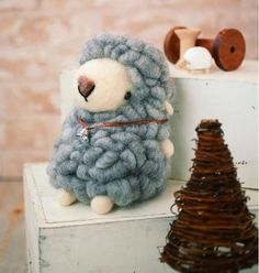 DIY handmade Large Felt Wool Gray Sheep