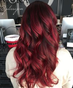 long scarlet balayage hair shades of burgundy, burgundy hair, brown highlights, redheads, Red Burgundy Hair Color, Shades Of Burgundy, Ombre Hair Color, Red Purple, Red Balayage Hair Burgundy, Deep Red Hair Color, Red Bob Haircut, Bob Haircuts, Pelo Color Borgoña