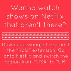 How to watch more shows on Netflix for FREE. You still have to pay for the regular Netflix, of course, but the additional shows are free. Netflix Hacks, Netflix Free, Netflix Codes, Shows On Netflix, Tv Hacks, Unlock Netflix, Netflix Tv, Hacks Videos, Hacks Diy
