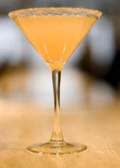 """""""The London"""" from Gordon Ramsay's The London Bar at the London  NYC, New York City, NY  Recipe 2 oz gin 3/4 oz Lillet Blanc 1/2 oz grapefruit juice 1/2 oz champagne Directions: Shake gin, Lillet and grapefruit juice. Strain into martini glass rimmed with sweet orange oil infused sugar. Top with champagne."""
