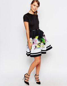 Vestido skater con estampado floral Forget Me Not Trellis Vidaa de Ted Baker