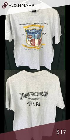 Mens Harly Davidson Shirt It is a size large, has some tiny stains on the front, in excellent condition. Harley-Davidson Shirts Tees - Short Sleeve