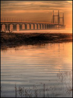 Dawn in Second Severn Crossing, England and Wales.  Nanny mentioned the Severn River a lot.