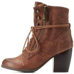 Qupid Chunky Heel Lace-Up Booties ($27) ❤ liked on Polyvore featuring shoes, boots, ankle booties, cognac, lace up ankle booties, lace bootie, lace up boots, chunky heel booties and lace-up booties