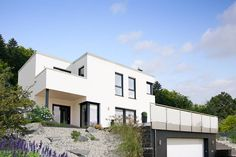 Fingerhut Haus Flachdach Bauhausstil Hangbebauung Fertighaus