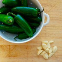 Garlic pickled jalapeños