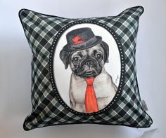 Pug cushion pug with hat and tie cushion  Pug by MimoCadeaux, $35.00