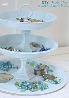 DIY Jewelry Tray from Dollar Store Finds at The Happy Housie