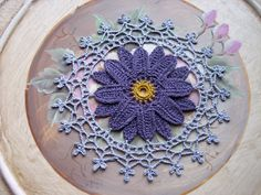 Linen Crochet in Purple & Grey by ArtisticNeedleWork