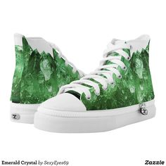 Emerald Crystal High-Top Sneakers - Printed Unisex Canvas Slip-On #Shoes Creative Casual #Footwear #Fashion #Designs From Talented Artists - #sneakers #feet #fashion #design #fashiondesign #designer #fashiondesigner #style - Look sporty stylish and elegant in a pair of unique custom sneakers - Each pair of custom Low Top ZIPZ Shoes is designed so you can fit your style to any wardrobe mood party or occasion - Fashionable sneakers for kids and adults give you a unique and personalized way to…
