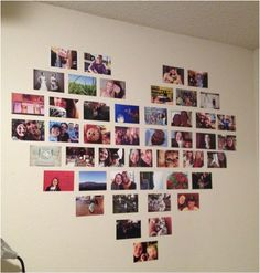 Love this in just a rectangle format with mod podge! DIY heart photo collage :)