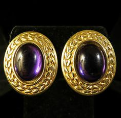 Trifari Signed Earrings Vintage Gold Tone Purple Cabochons | eBay