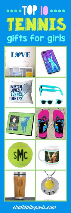 Top 10 tennis gift ideas for girls: Perfect gift ideas for holidays, special occasions, and end of season gifts! These products are made-to-order and can be personalized with your team and tennis player's info! From custom flip flops to personalized beach towels, there are so many products to choose from at ChalkTalkSPORTS.com!