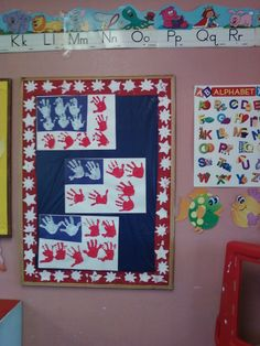 """Project I worked on  with my preschoolers for 4th of July """"HAND PRINTS FLAGS"""""""