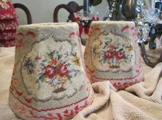 Vintage Needlepoint Chandelier Shades