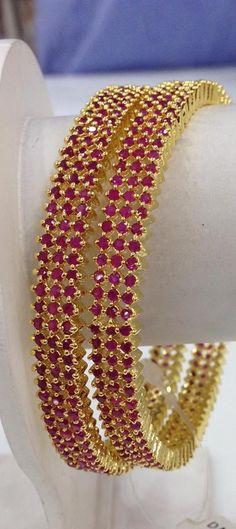 3 rows ruby stone bangles
