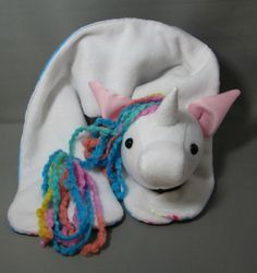 Unicorn scarf by the awesome Sara Lanzillotta of Devout Dolls Unicorn Stuffed Animal, White Unicorn, Mane N Tail, White Glitter, Rainbow Hair, Black Kids, Pink Satin, Sewing For Kids, Baby Shoes