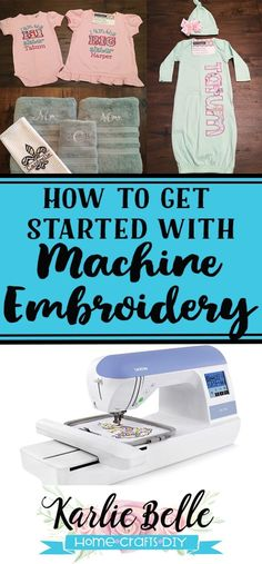 A complete list of all of the machine embroidery supplies needed for a beginner. Start a new hobby or your own home machine embroidery business. Machine Embroidery Gifts, Brother Embroidery Machine, Embroidery Supplies, Embroidery Machines, Flower Embroidery Designs, Embroidery Monogram, Embroidery Ideas, Embroidery Stitches, Hand Embroidery