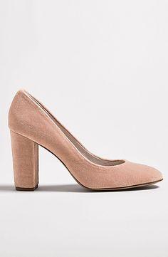 Jianna Stacked Heel Pump Pink Velvet