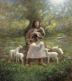 """In this painting by Jon McNaughton, the little black lamb represents those who have lost their way. The Savior sits in front of an olive tree and gently picks up the little black lamb, whispering, """"Ye are not forgotten. Lds Art, Bible Art, Arte Lds, Jon Mcnaughton, Feeling Abandoned, Biblia Online, Pictures Of Jesus Christ, Jesus Pics, Christian Pictures"""