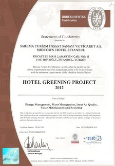 Turob - Greening Hotels Project 2012 Certificate