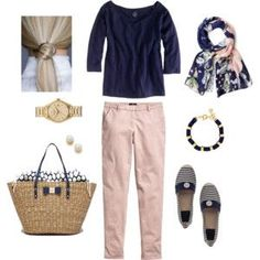 A fashion look from June 2014 featuring J.Crew t-shirts, H&M pants und Tory Burch flats. Browse and shop related looks. Pink Jeans Outfit, Pink Pants, Pink Outfits, Preppy Outfits, Summer Outfits, Cute Outfits, Fashion Outfits, Womens Fashion, Soft Summer