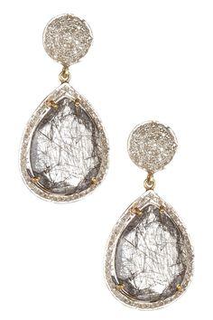 Tourmalinated Quartz & White Diamond Earrings
